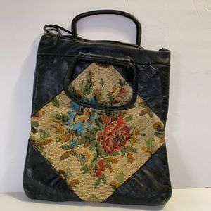 Handbags - Leather hand bag with flower print